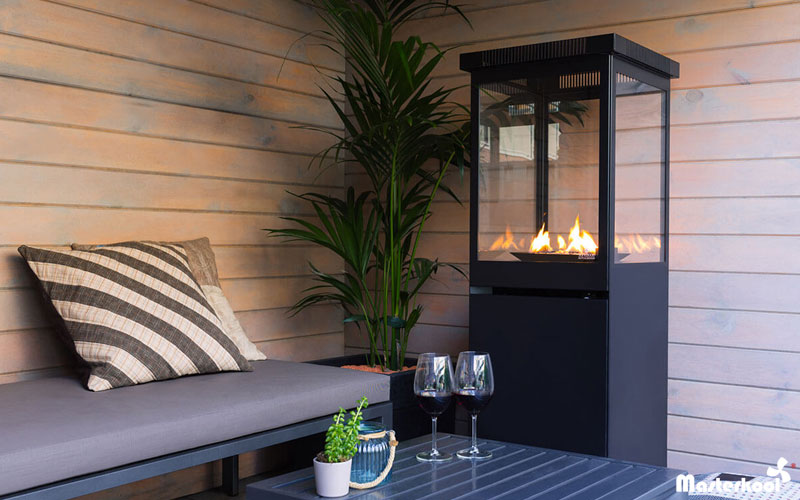 Calefacci n de terrazas con llama estufa decorativa a for Estufas para terrazas